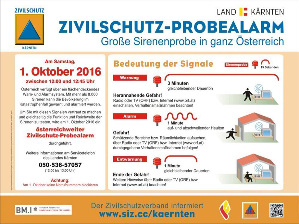 Zivilschutz Probealarm 2016